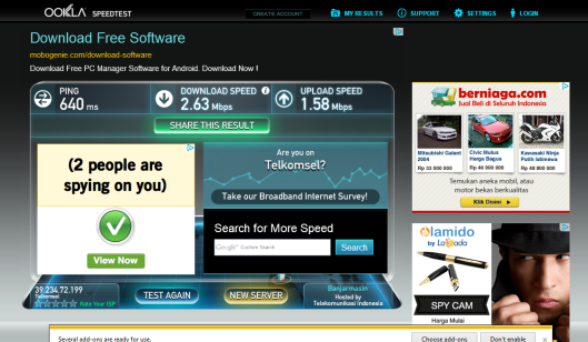 speed test - modem huawei
